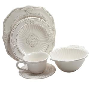 Click here to buy American Atelier Baroque 20-Piece White Dinnerware Set by American Atelier.