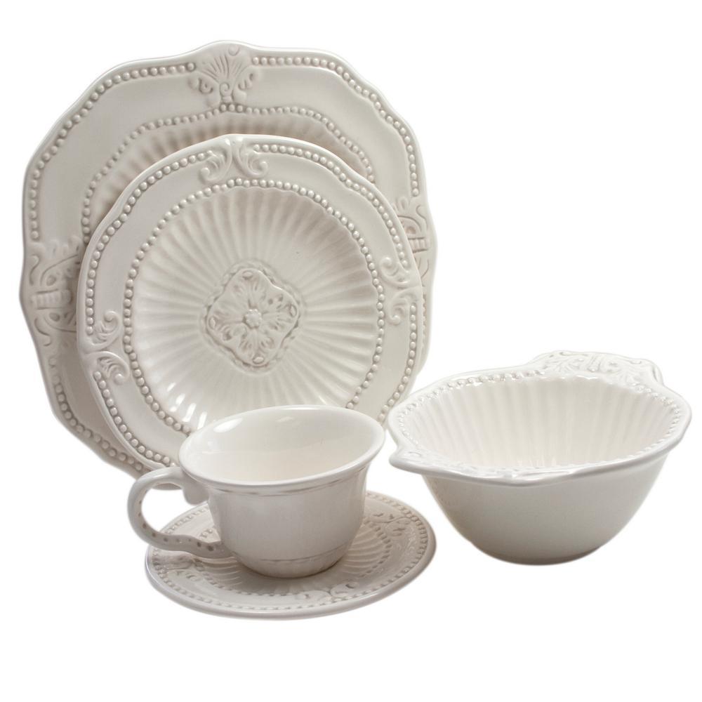 Baroque 20-Piece White Dinnerware Set