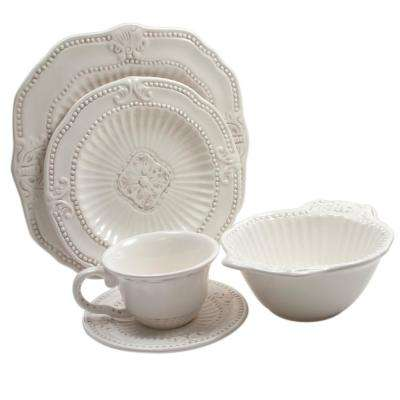 Baroque 20-Piece White Dinnerware Set