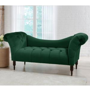 Skyline Furniture Tufted Green Chaise Lounge in Mystere Jade ...