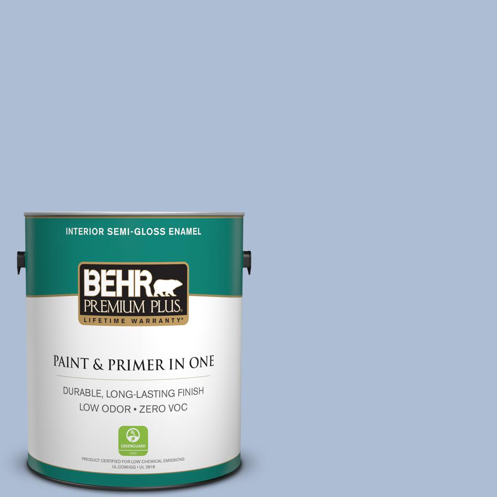 1-gal. #580E-3 Sweet Blue Zero VOC Semi-Gloss Enamel Interior Paint
