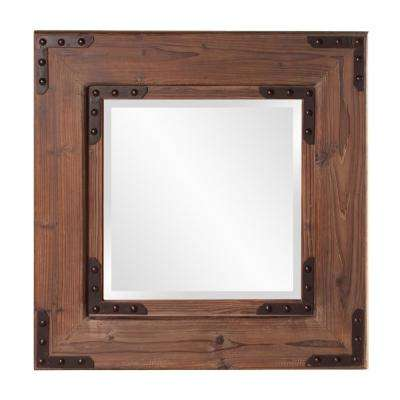 28 in. x 28 in. Stained Natural Wood Framed Mirror