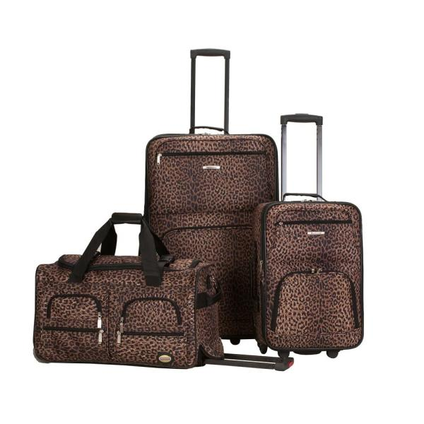 c619b8474 Rockland Rockland Expandable Spectra 3-Piece Softside Luggage Set, Leopard