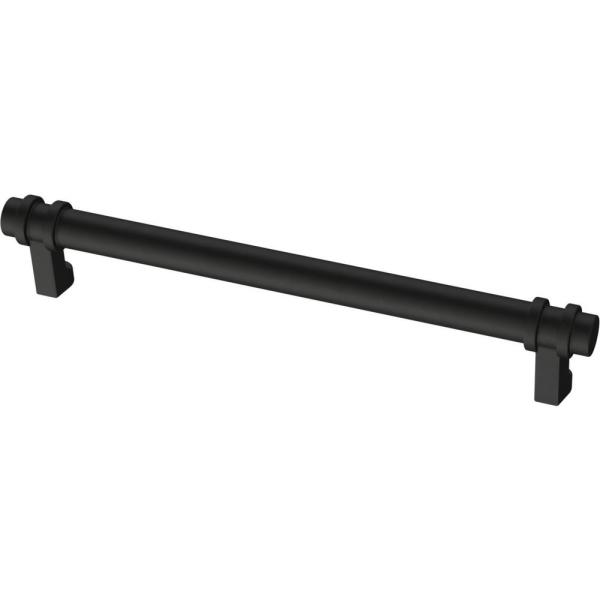 Classic Ringed 6-5/16 in. (160 mm) Matte Black Drawer Pull