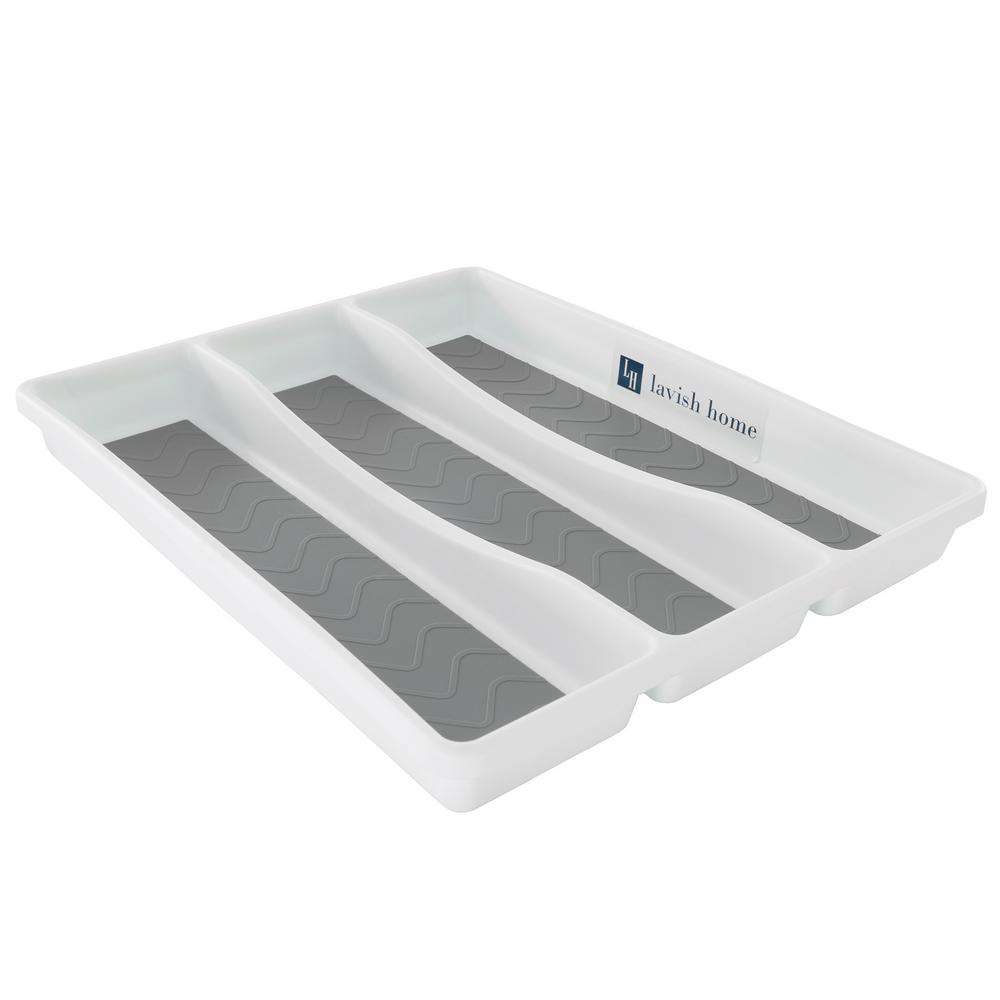 White Durable Plastic Drawer Organizer with 3-Sections