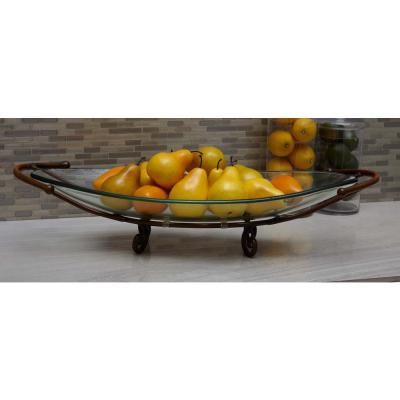 6 in. x 30 in. Glass Bowl with Curled Iron Feet in Brass Brown
