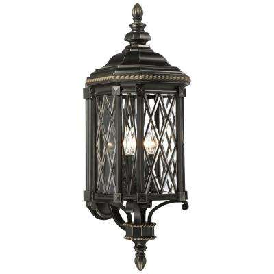 Bexley Manor 4-Light Black with Gold Highlights Wall Lantern Sconce