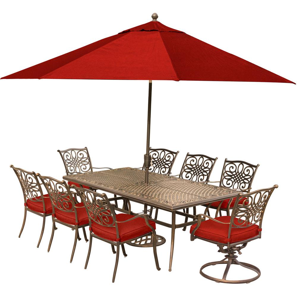 Hanover Traditions 9 Piece Aluminum Outdoor Dining Set With Red Cushions  And 2 Swivel Rockers