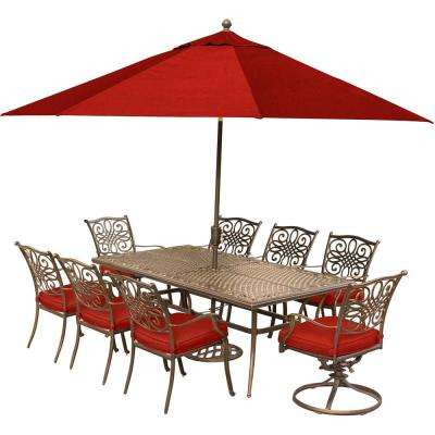 Traditions 9-Piece Aluminum Outdoor Dining Set with Red Cushions and 2 Swivel Rockers