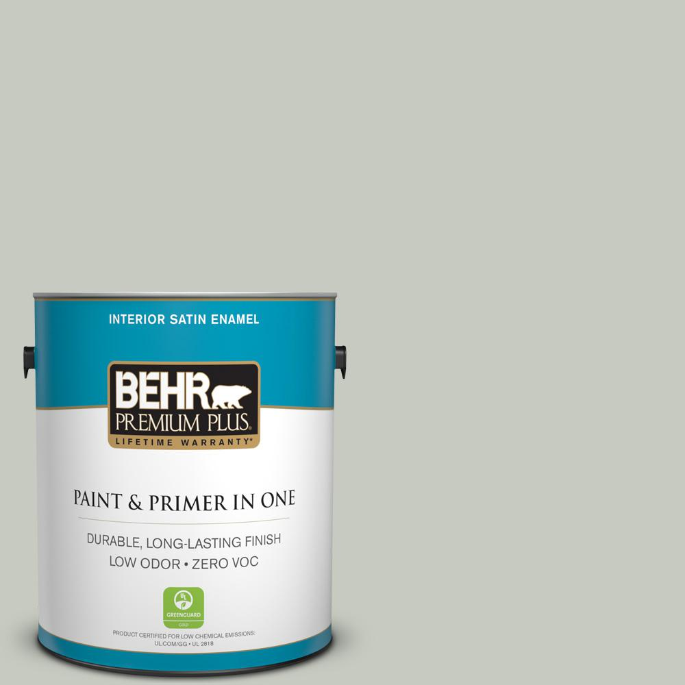 BEHR Premium Plus 1-gal. #PPL-80 Dynasty Celadon Zero VOC Satin Enamel Interior Paint