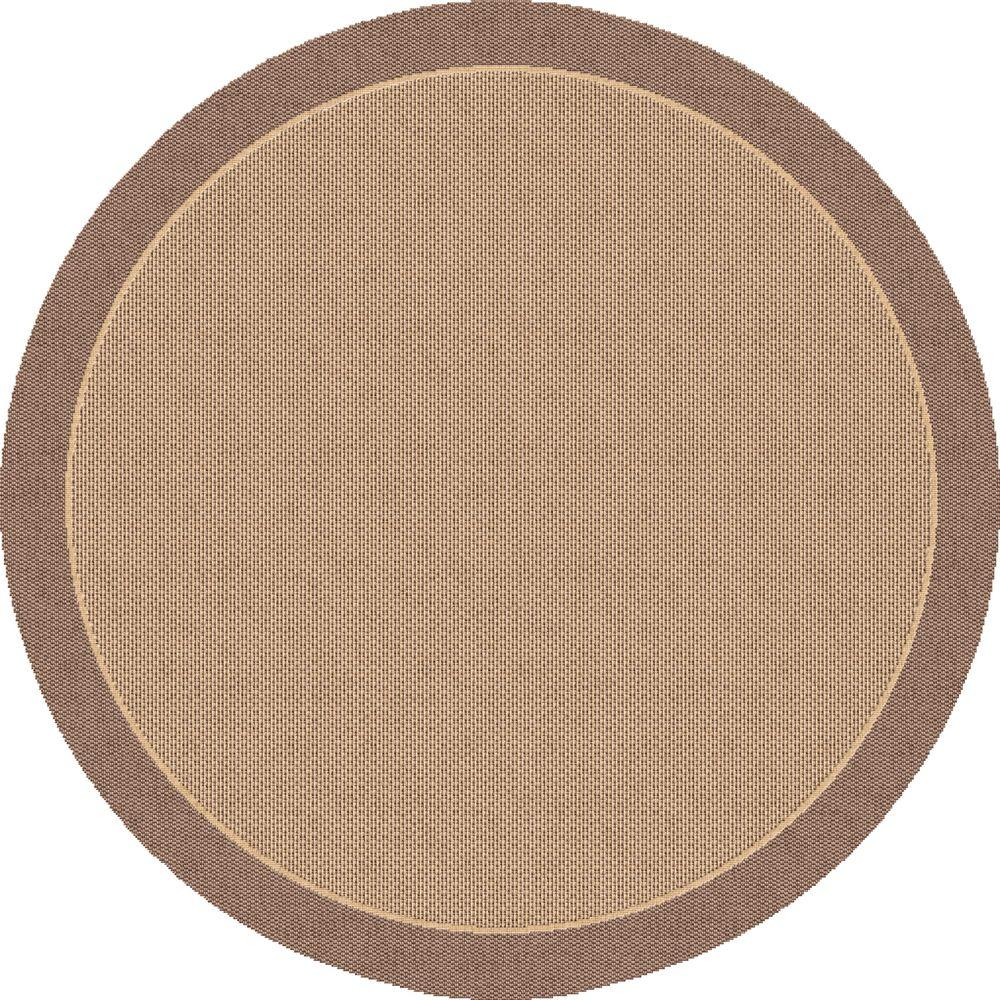 Dynamic rugs piazza brown 5 ft x 5 ft round indoor outdoor area