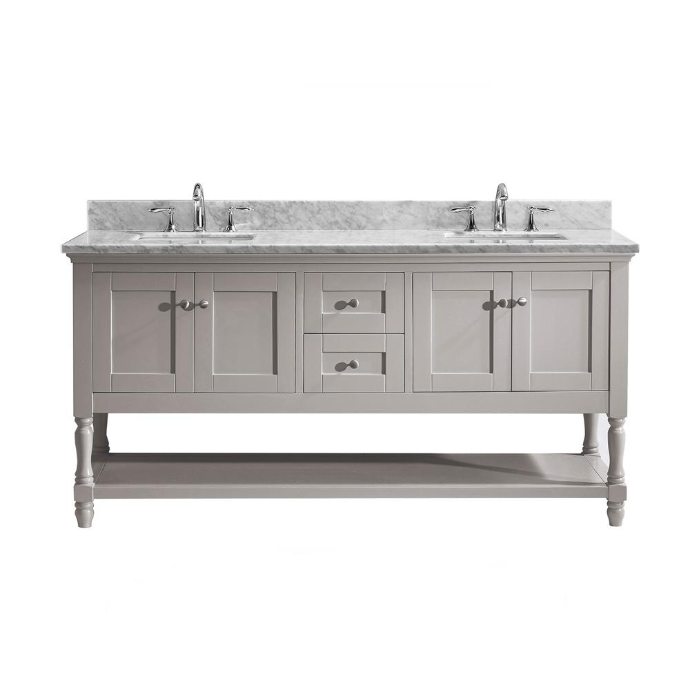 Virtu USA Julianna 72 in. W Bath Vanity in Gray with Marble Vanity Top in White with Square Basin
