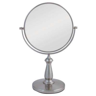 13.5 in. L x 9 in. W 360° Swivel Freestanding Bi-View 8X/1X Magnification Vanity Beauty Makeup Mirror in Satin Nickel