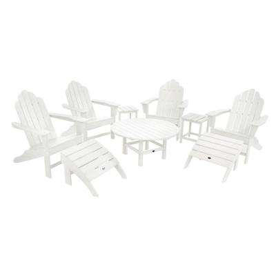 Long Island White 9-Piece Adirondack Patio Conversation Group Set