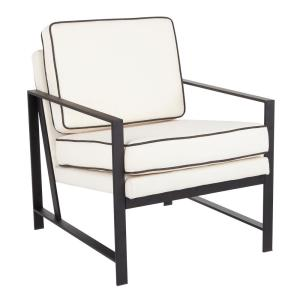 Franklin Cream Black Metal Upholstered Arm Chair