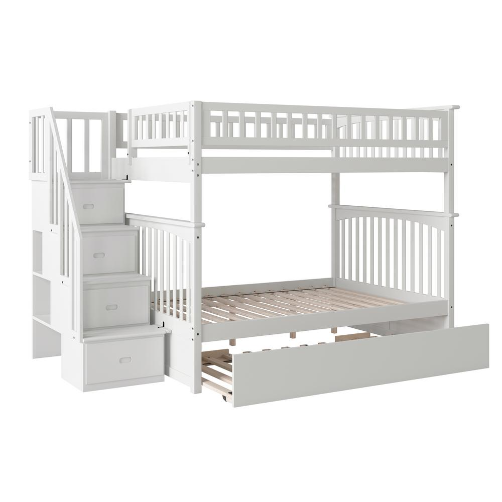 Columbia Staircase White Full Over Full Bunk Bed with Twin Urban