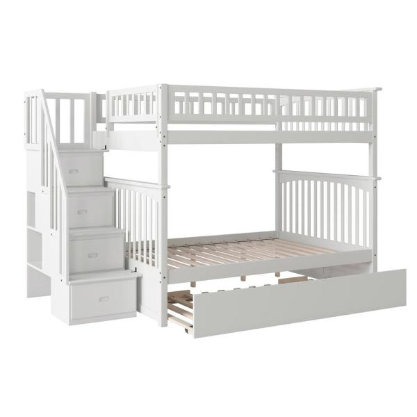 Atlantic Furniture Columbia Staircase White Full Over Full Bunk Bed with Twin Urban Trundle Bed