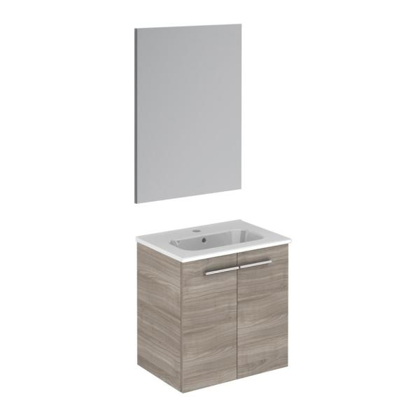Start 19.5 in. W x 13.8 in. D x 20.4 in. H Complete Bathroom Vanity Unit in Sandy Grey with Mirror