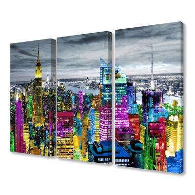"16 in. x 24 in. ""Rainbow Colorful City Lights Rooftop Skyline"" by Artist Carly Ames Canvas Wall Art(3Pieces)"