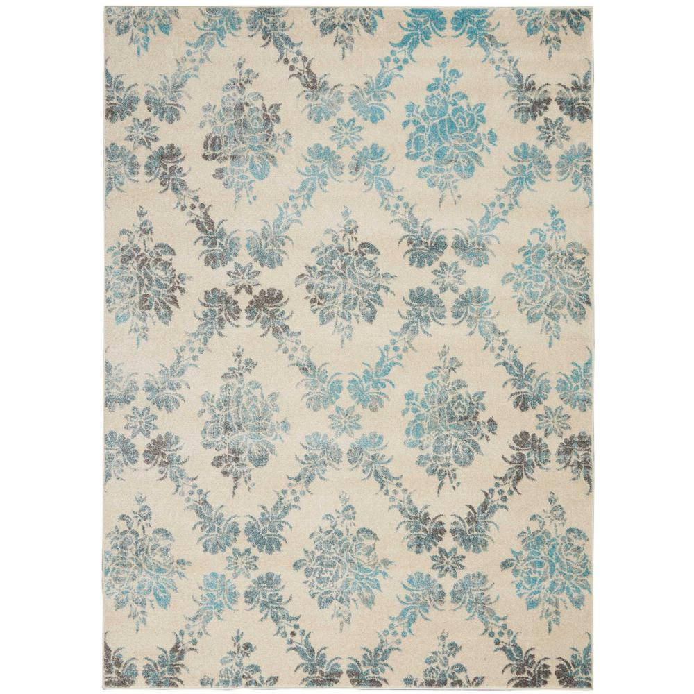 317f48882 Nourison Tranquil TRA09 Turquoise and White 4 x6  Vintage Area Rug ...