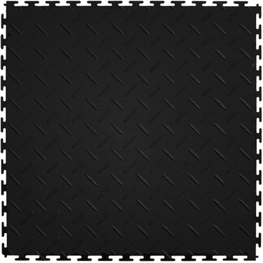 Supreme Garage Tile Diamond Plate 1 71 Ft Width X 1 17 Ft Length Black Pvc Garage Flooring Pcdtilebk The Home Depot