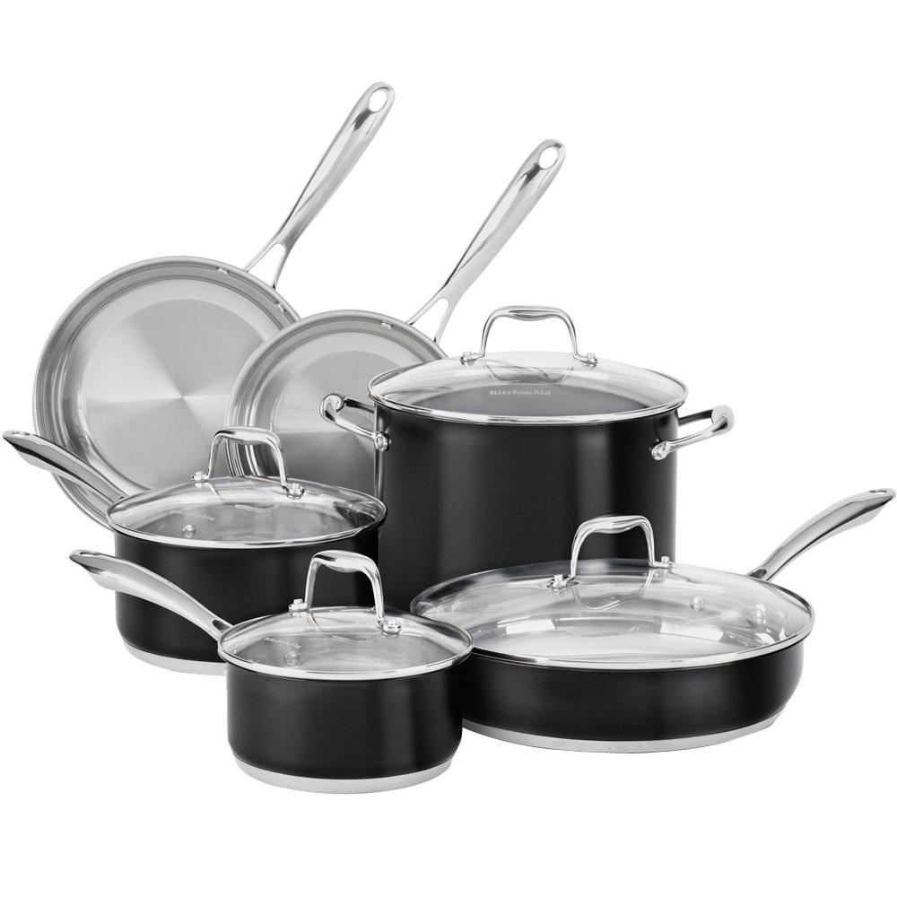 10-Piece Onyx Black Cookware Set with Lids