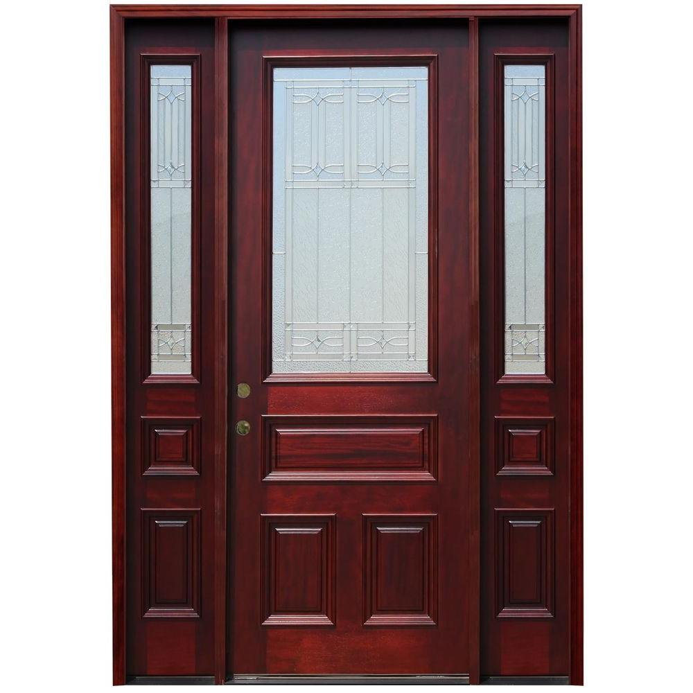 70 in. x 98 in. Traditional 3/4 Lite Stained Mahogany Wood