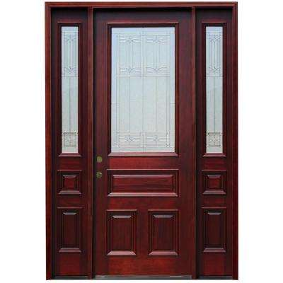 70 in. x 98 in. Traditional 3/4 Lite Stained Mahogany Wood Prehung Front Door w/ 6 in. Wall Series and 12 in. Sidelites