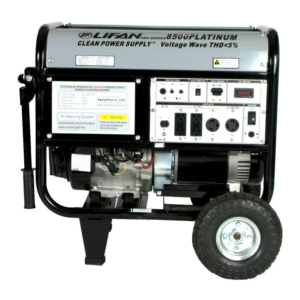 LIFAN Platinum Series 8,500-Watt 420cc Electric Start Generator, Clean Power, Clean Power