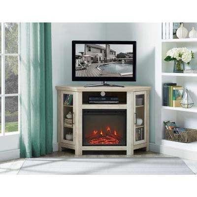 48 in. White Oak Wood Corner Fireplace Media TV Stand Console