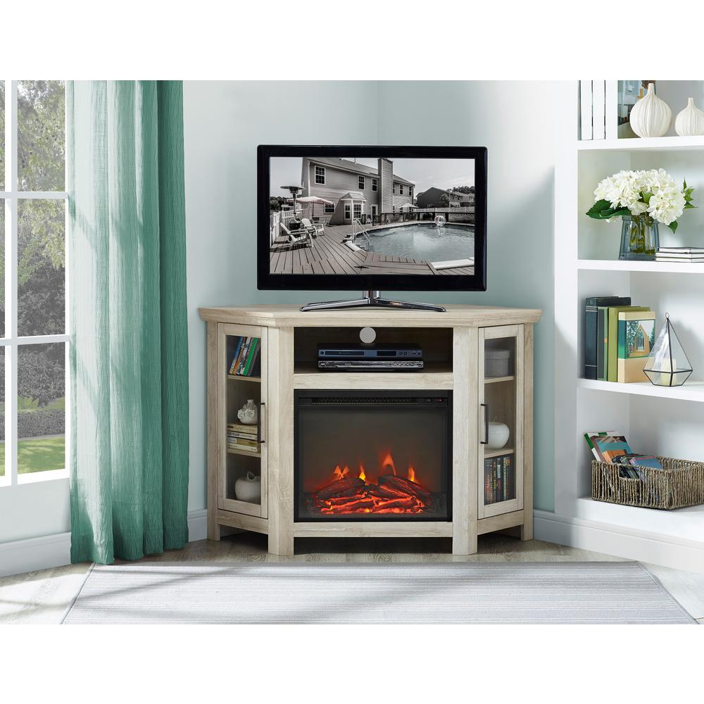 Utilize your corner space with this 48 in. wood media stand with electric fireplace. Its corner design makes this the perfect space saving unit while creating a warm
