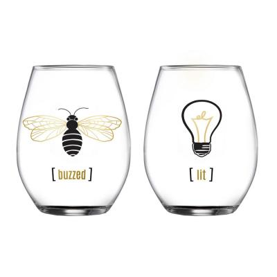 18.3 fl. oz. Buzzed and Lit Stemless Wine Glasses (2-Pack)