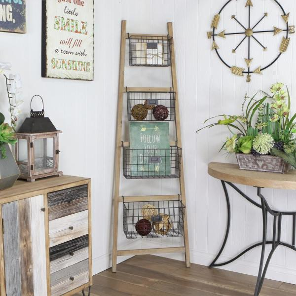 73.25 in. Brown/Black Wood 4-shelf Ladder Bookcase with Open Back