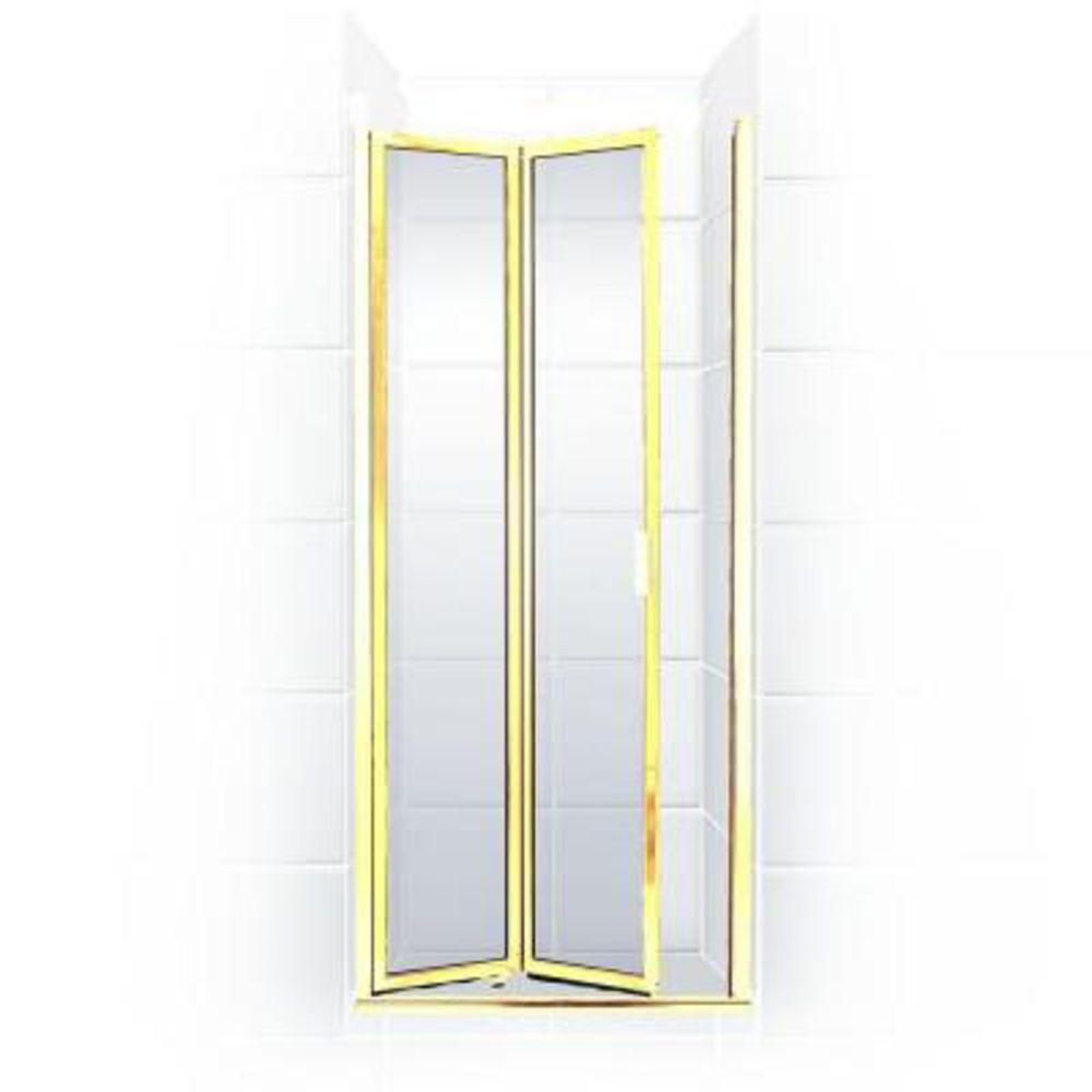Coastal Shower Doors Paragon Series 28 in. x 66 in. Framed Bi-Fold Double Hinged Shower Door in Gold and Clear Glass