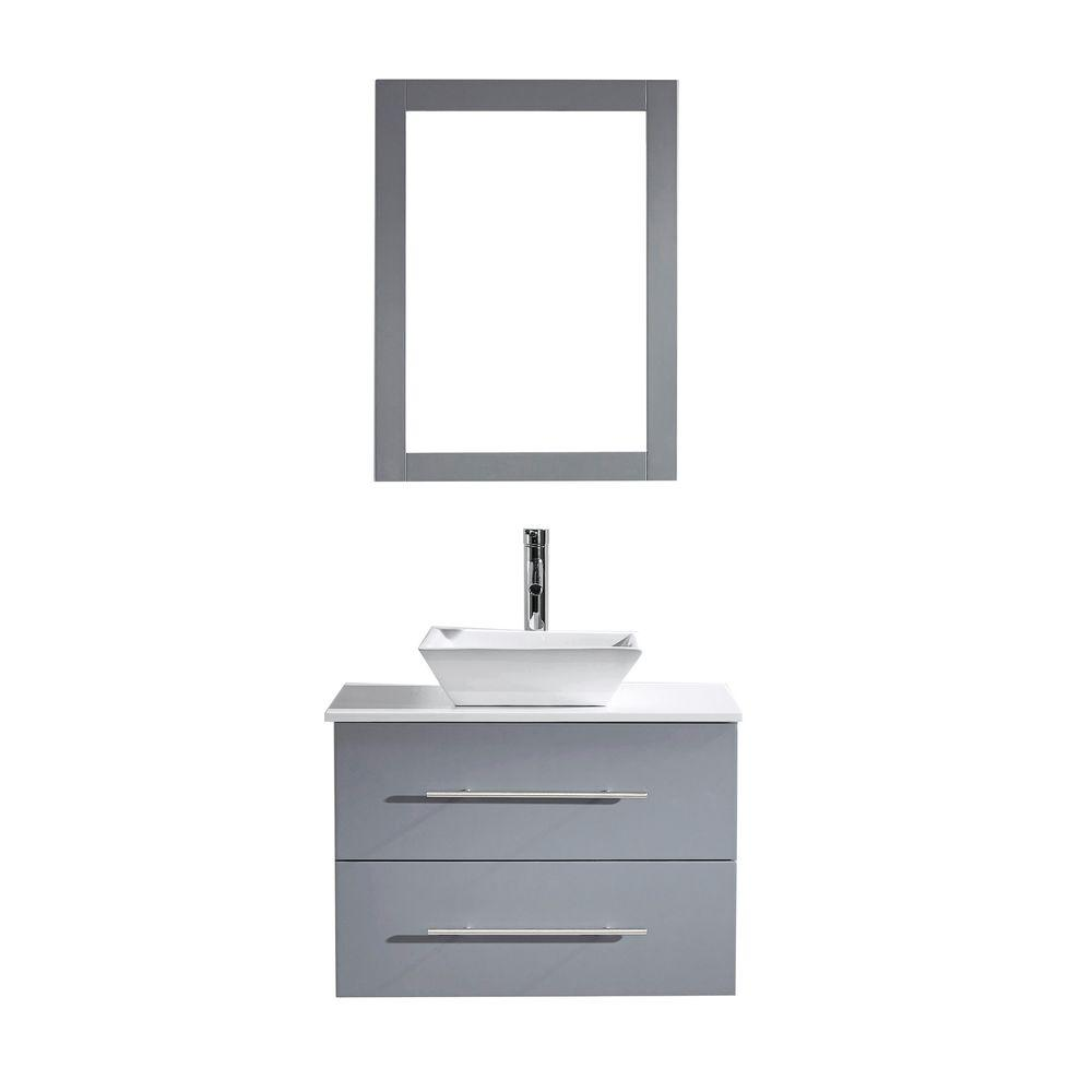 Virtu USA Marsala 30 in. W Bath Vanity in Gray with Stone Vanity Top in White with Square Basin and Mirror and Faucet