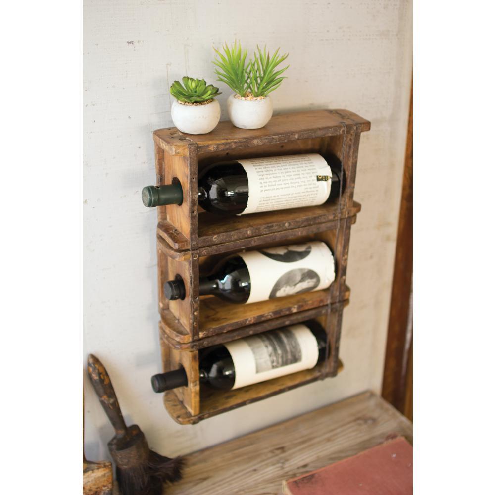 Brown Brick Mold Hanging Wine Rack