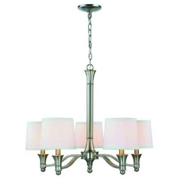 Hampton Bay - 5-Light Brushed Nickel Chandelier with White Fabric Shades
