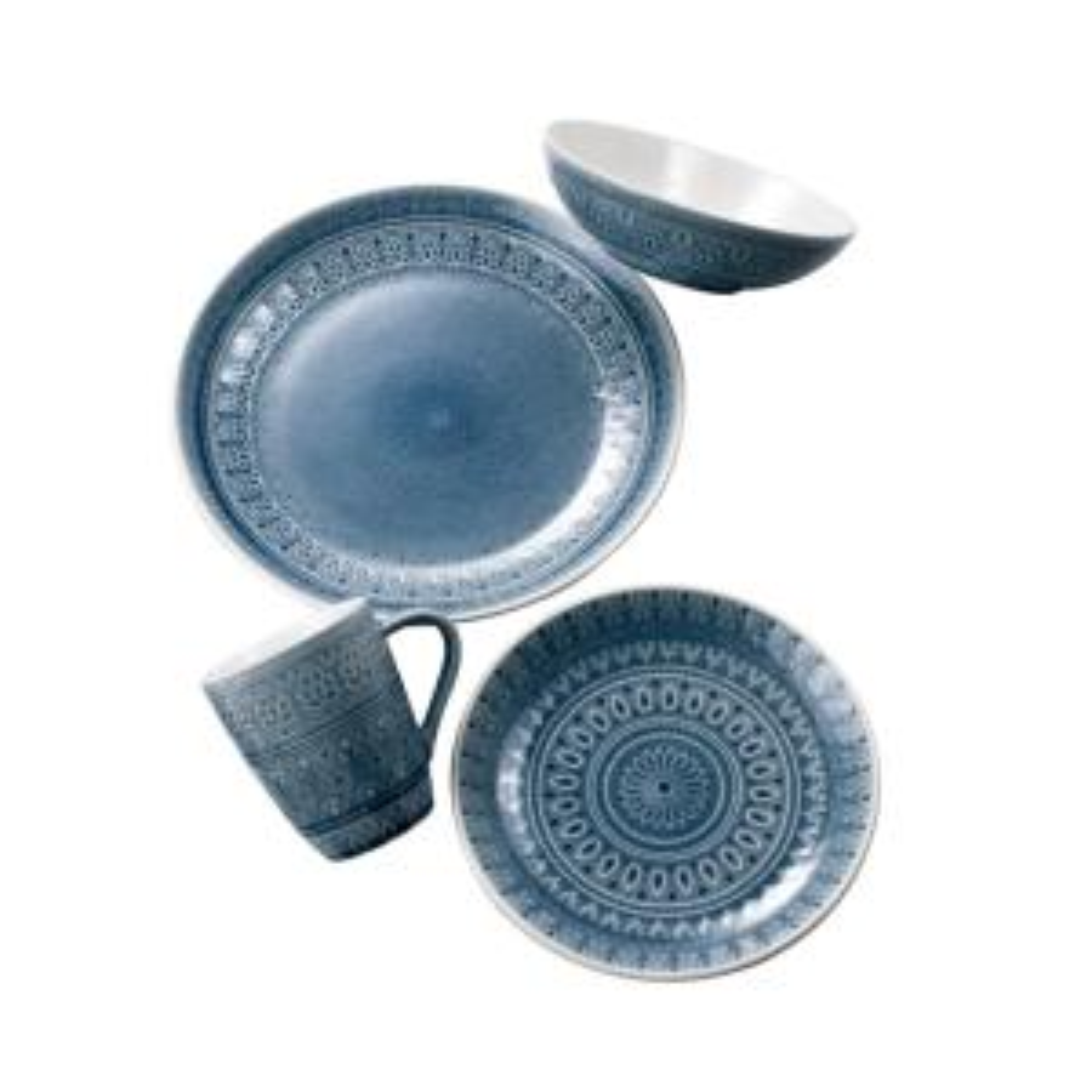 Fez 16-Piece Gray Dinnerware Set by