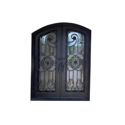 96 in. x 61.5 in. 2-Panel Right-Hand/Inswing 3 Full Lite Clear Glass Bronze Finished Iron Prehung Front Door