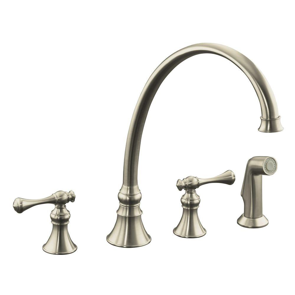 KOHLER Revival 2-Handle Standard Kitchen Faucet in Vibrant Brushed Nickel