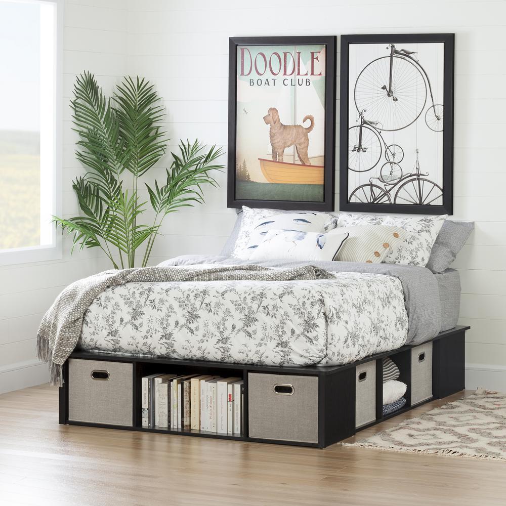 Flexible Black Oak Full-Size Storage Bed