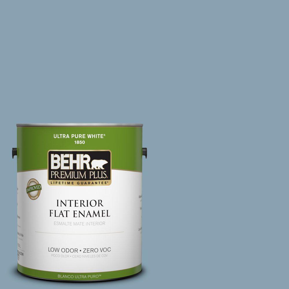 BEHR Premium Plus 1-gal. #T14-14 Cloisonne Blue Flat Enamel Interior Paint-DISCONTINUED