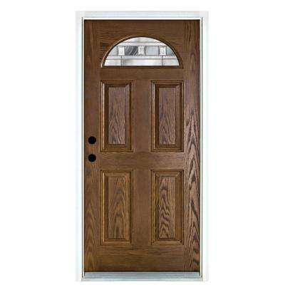 36 in. x 80 in. Savana Medium Oak Right-Hand Inswing Fan Lite Decorative Fiberglass Prehung Front Door