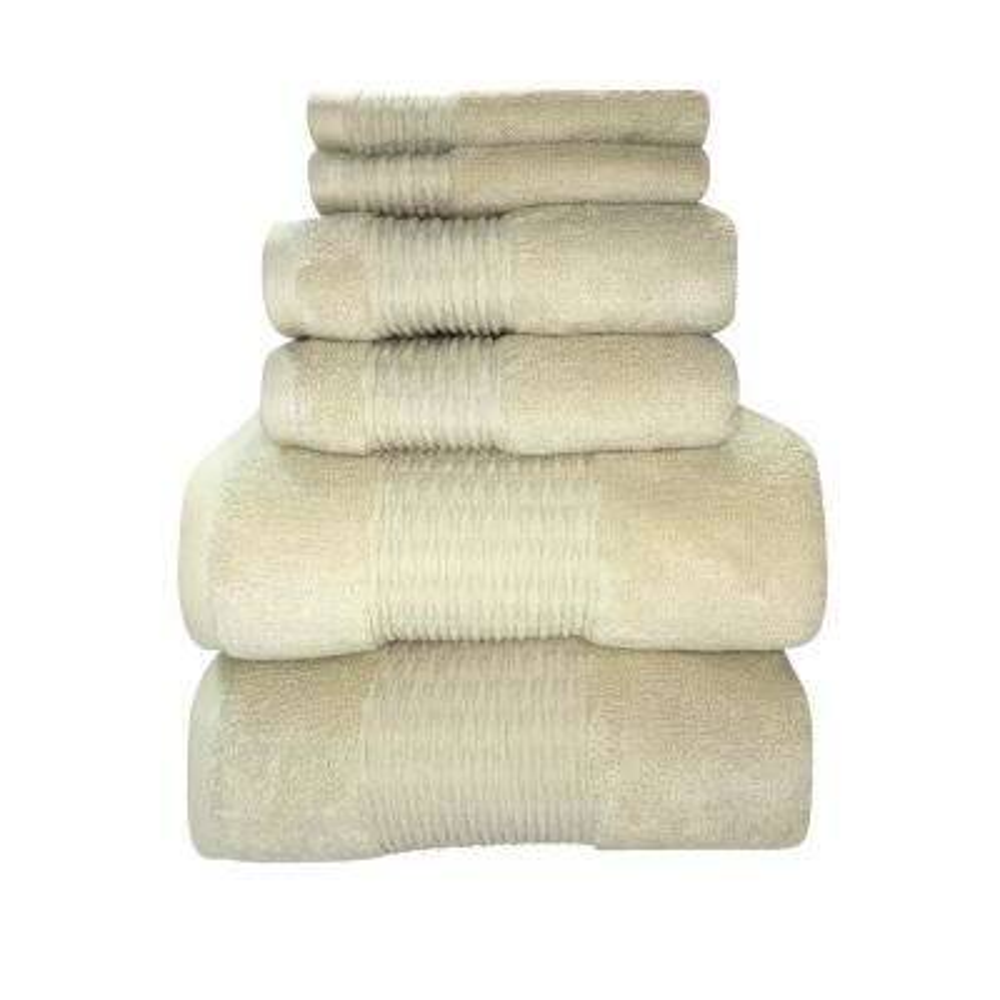 Luna 6-Piece 100% Cotton Bath Towel Set in Angora