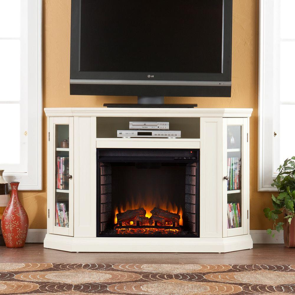 Southern Enterprises Carter 48 in. Convertible Media Electric Fireplace TV Stand in Ivory