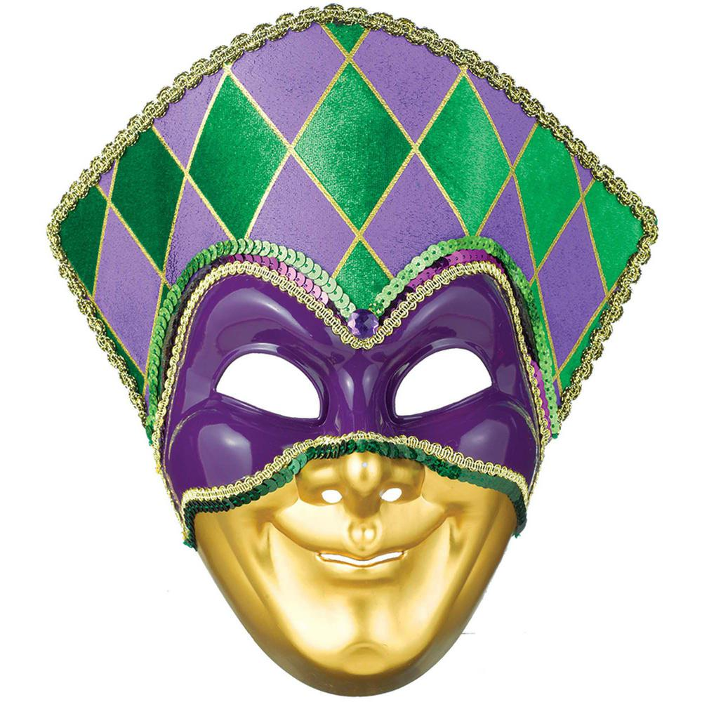 Green, Purple and Gold Plastic Mardi Gras Jester Mask