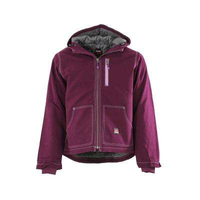 Women's 4 XL Plum 100% Cotton Modern Hooded Jacket