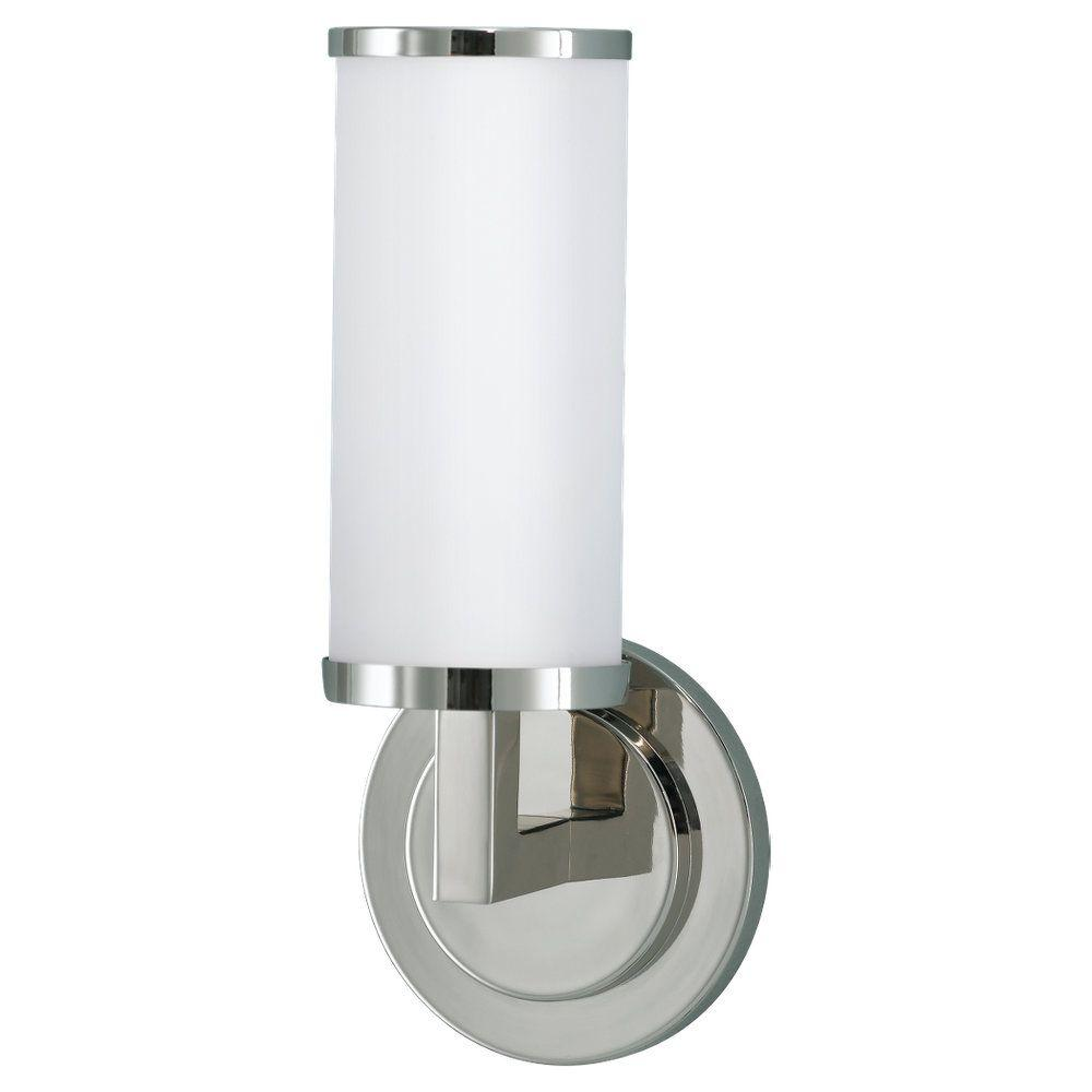 Feiss Industrial Revolution 5 in. W x 12 in. H Polished Nickel Wall Sconce with Round Backplate and Cylinder Opal Glass Shade