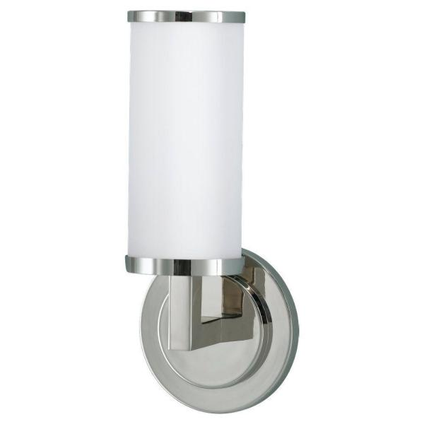 Industrial Revolution 5 in. W x 12 in. H Polished Nickel Wall Sconce with Round Backplate and Cylinder Opal Glass Shade