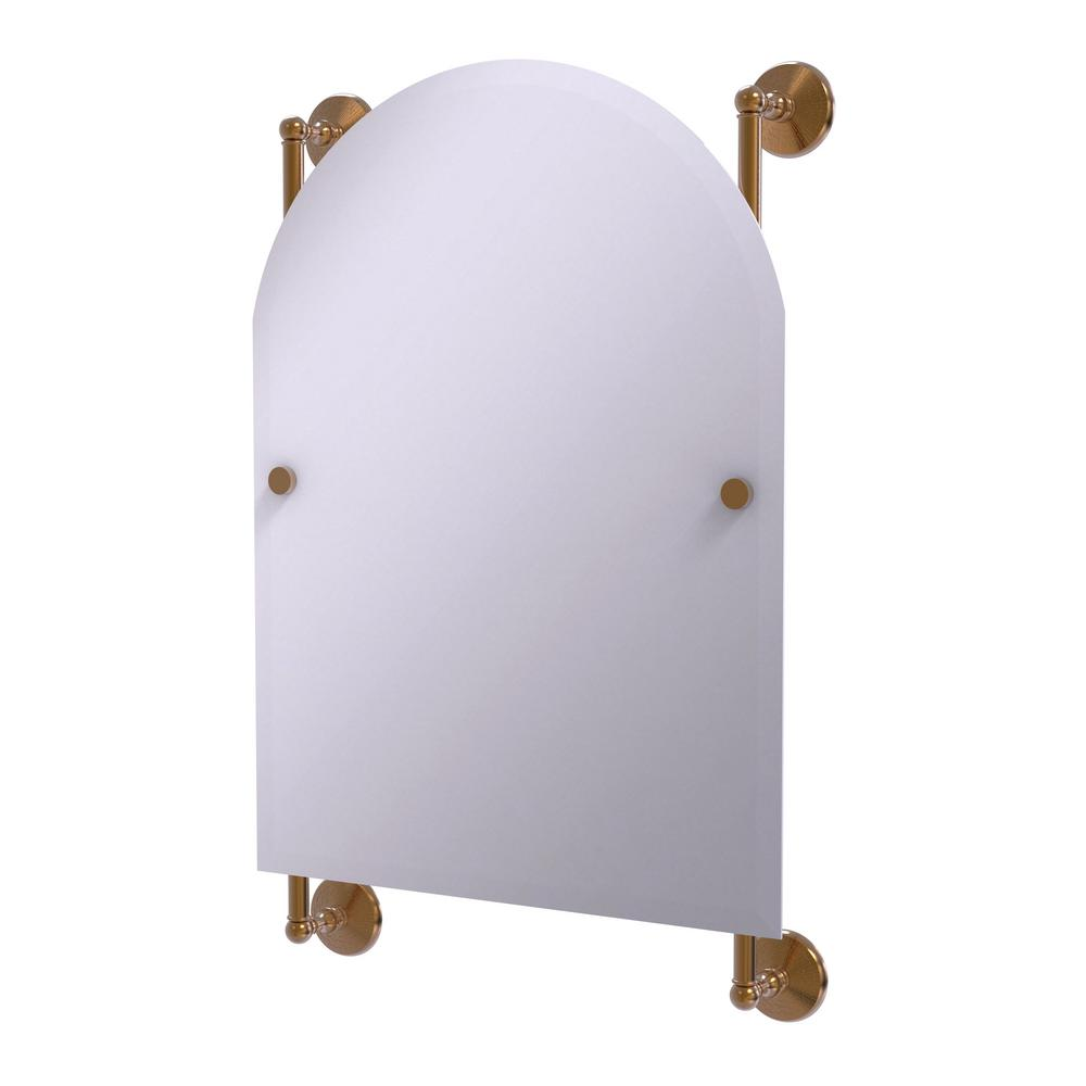 Monte Carlo Arched Top Frameless Rail Mounted Mirror in Brushed Bronze